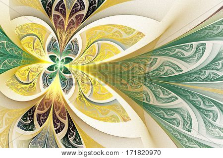 Fractal flower or butterfly background in stained-glass window style. You can use it for invitations notebook covers phone cases postcards cards wallpapers and so on. Artwork for creative design.