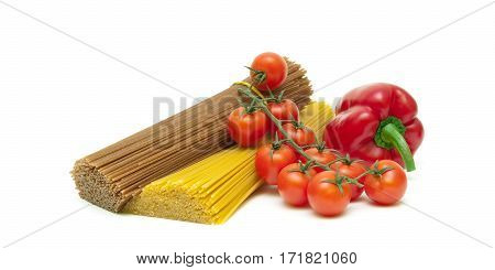 tomatoes peppers and pasta isolated on white background. horizontal photo.