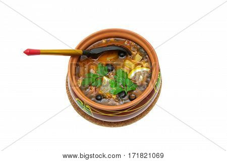 Meat solyanka- traditional Russian soup on a white background. horizontal photo.