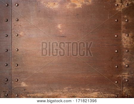 Rusty metal steam punk background or texture with rivets