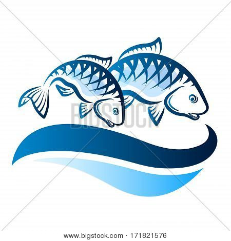 Couple of fish on blue waves vector