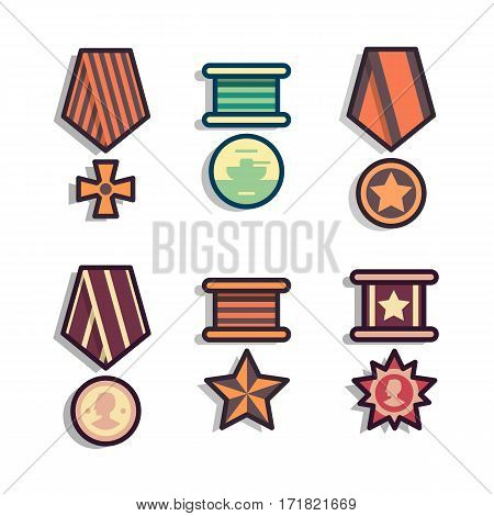 Set of public commemorative medals. Element awards for day of defenders of fatherland. Modern colorful flat outline style. Collection of army rewards icons.