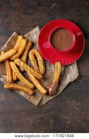 Traditional Spanish Churros With Chocolate