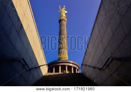 Berlin Siegessäule Perspective From Tunnel
