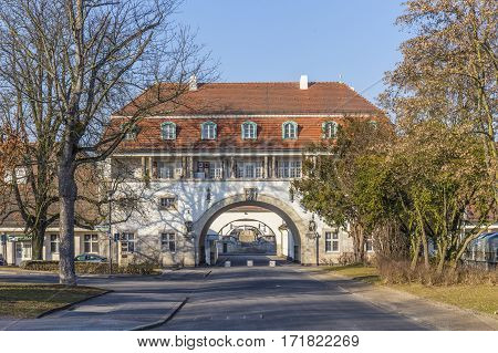 Sprudelhof in Bad Nauheim under blue sky