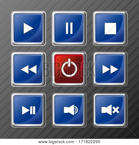 Player navigation buttons set. Media symbols. Vector illustration