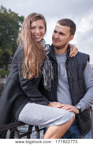 Fashion Of Nice Pretty Young Hipster Woman With A Handsome Man Look At Each Other