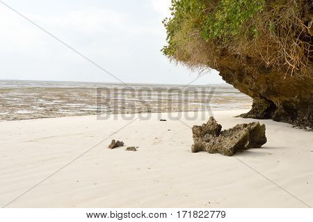 Small cove with a rock on the white sand of the bamburi beach in Mombasa Kenya