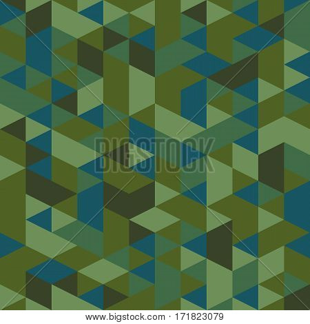 Camouflage lowpoly creative background. Texture for military, army design. Abstract green vector illustration art.