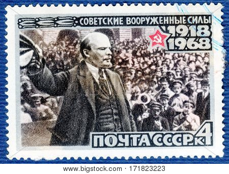 USSR - CIRCA 1968: Postage stamp printed in USSR devoted to the 50th anniversary of the Armed Forces USSR, from the series