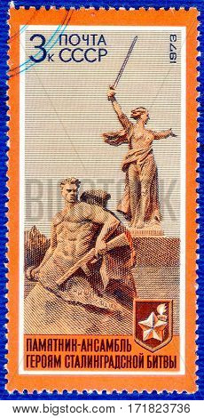 USSR - CIRCA 1973: Postage stamp printed in USSR  with a picture of a sculpture Motherland, from the series