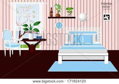 The interior of the bedroom. A cozy room with a bed. Vector illustration. Cartoon