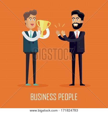 Business people concept vector in flat style. Successful man holding winner cup in hands and receives applause from colleague. Illustration for business concepts, web pages design, infographics.