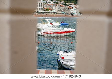 PETROVAC, MONTENEGRO - SEPTEMBER 20, 2016:View of the bay and the boats of Petrovac, Montenegro.