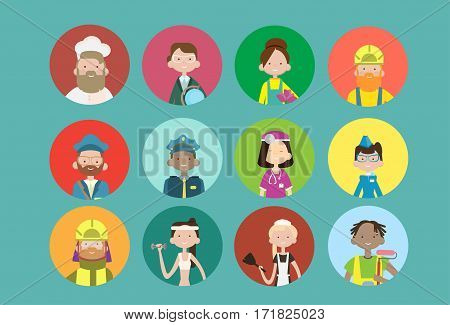 People Group Different Occupation Icon Set, Employees Mix Race Workers Banner Flat Vector Illustration