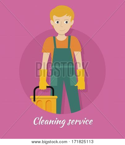 Cleaning service banner. Young man in green uniform and gloves with yellow bucket. House cleaning service, professional office cleaning, home cleaning, domestic cleaning service. Website template.