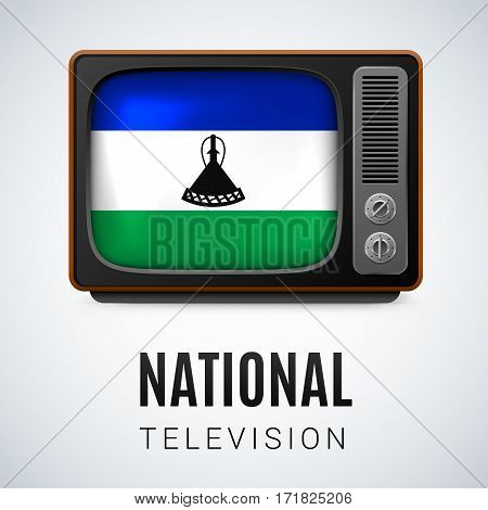 Vintage TV and Flag of Lesotho as Symbol National Television. Tele Receiver with flag colors