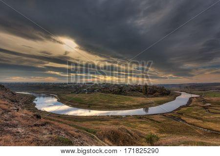 Landscape with river and vilage. Hdr image