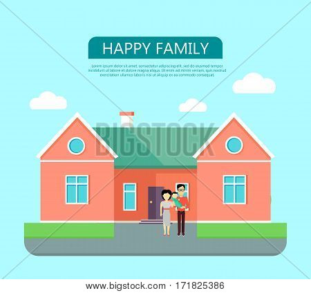 Happy family on the background of red house with green roof. Home house in flat design style. Home, building, house exterior, real estate, family house, modern house. Website template.