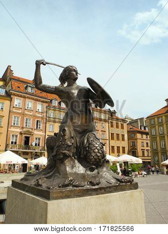 Warsaw Poland - May 5 2015: Sculpture of Warsaw siren at the Old Town Market Square.