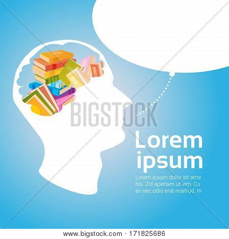 Human Head Books Stack School Education Concept Flat Vector Illustration