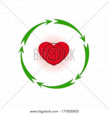 Vector illustration. Heart under a sight Different colors. Five in a circle of arrows