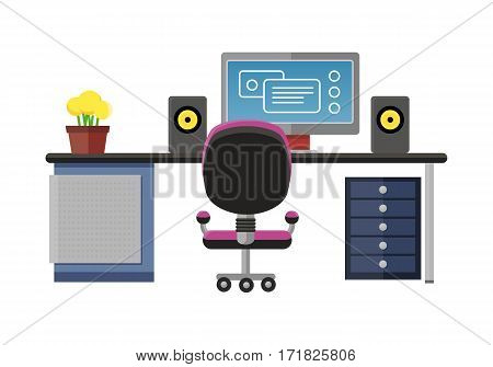 Modern office interior with designer desktop in flat design. Interior office room. Modern office room. Office space. illustration of office. Working place in modern office interior
