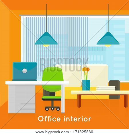 Office interior concept vector in flat style. Bright office room with modern furniture, workplace and urban view from window. Comfortable place for work. Illustration of modern business apartments design.