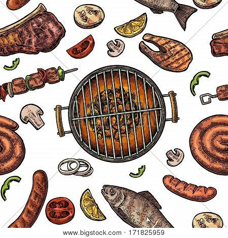Seamless pattern barbecue grill. Top view with charcoal mushroom tomato pepper sausage lemon kebab fish and beef steak. Vintage color vector engraving illustration. Isolated on white background