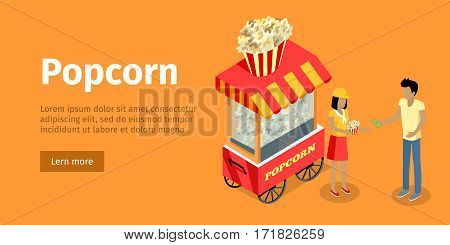 Popcorn concept web banner. Street cart store on wheels with popcorn, a woman vendor sells portion of snacks to the man buyer isometric projection vector illustration on orange background. For fast food ad