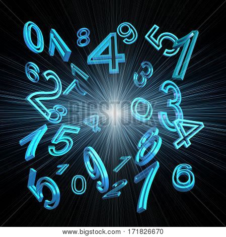 numerology blue numbers on a black background