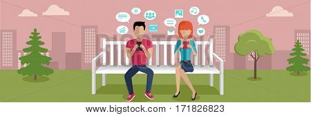 Internet addiction banner. Woman and man whis smartphone sitting on wooden bench in the park. People with dialog windows. People using phone. Urban cityscape with people, park, bench, trees, sky.