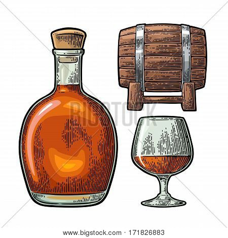 Glass barrel and bottle of cognac. Vintage color engraving illustration for label poster web invitation to party. Isolated on white background