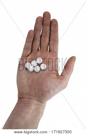 Image of medicine pills and capsules in hand on white background, Antibiotic, painkiller close up.
