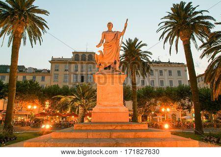Bastia France - 15 July 2006: Statue of Bonaparte Napoleon at Bastia on Corsica island France