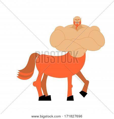 Centaur Fairytale Creature. Man Horse Isolated. Fantastic Animal. Centaurus Mythology Beast Monster