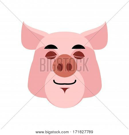 Pig Sleeping Emoji. Piggy Asleepl Emotion On White Background. Farm Animal
