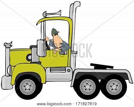 Illustration of a man looking back while he puts his semi cab in reverse.