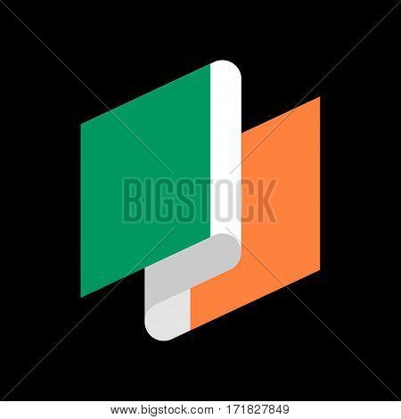 Ireland Flag Ribbon Isolated. Irish Tape Banner. State Symbol