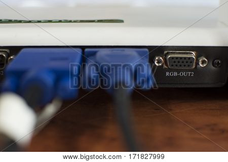 VGA ports used to connect to a computer.