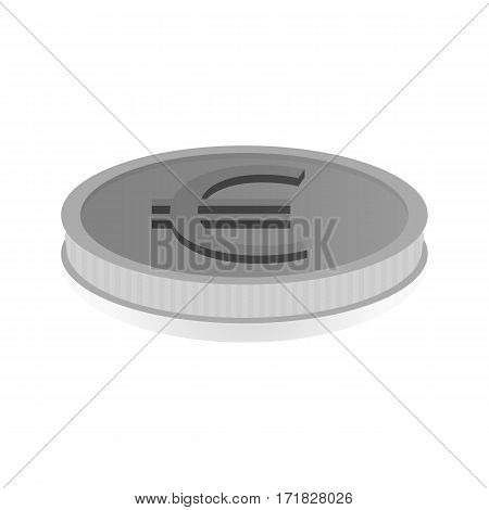 Vector illustration of a silver coin with the euro symbol.