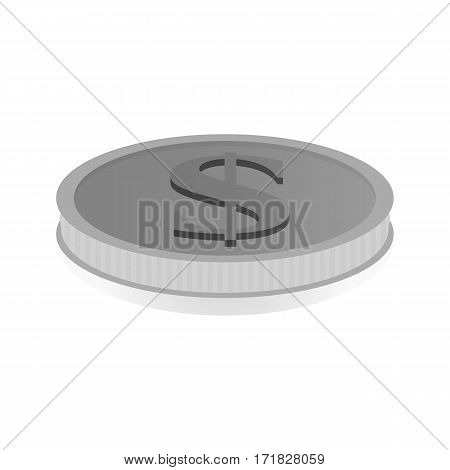Vector illustration of a silver coin with the symbol of dollar.