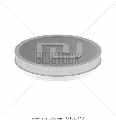 Vector illustration of a silver coin with the symbol of the shekel.