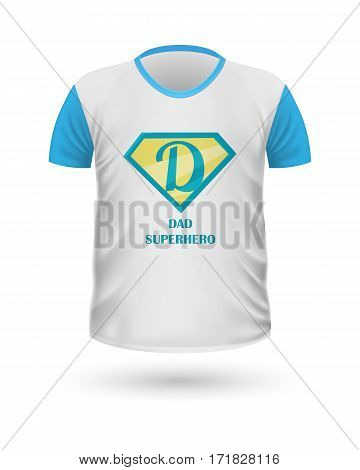 Dad superhero T-shirt front view isolated. White t-shirt. Realistic t-shirt vector in flat. Fathers day celebration concept. Casual men wear. Cotton t-shirt unisex polo outfit. Fashionable apparel.