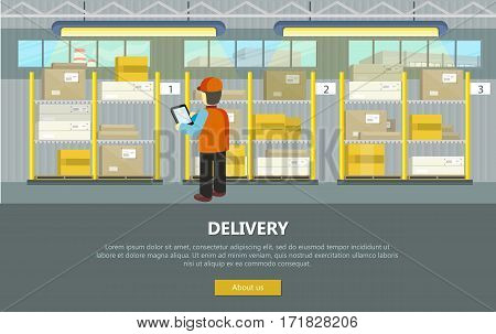 Delivery conceptual vector web banner. Flat style. Man in uniform with tablet working in warehouse. Illustration for postal online services, startups, corporate web sites, landing pages design