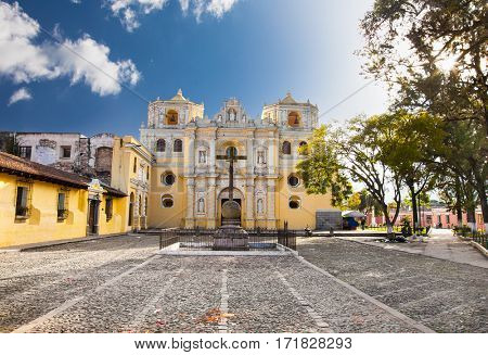 La Merced church in central park of Antigua, Guatemala.