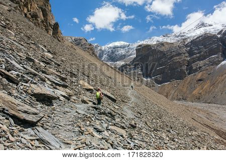 Dangerous loose rock pathways on sides of Himalayas, Nepal