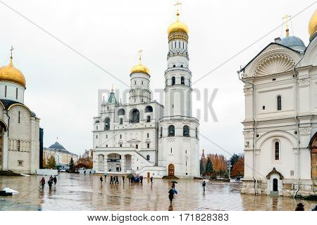 MOSCOW, RUSSIA- November 11, 2016: Ivan the Great bell tower, Moscow Kremlin, Russia