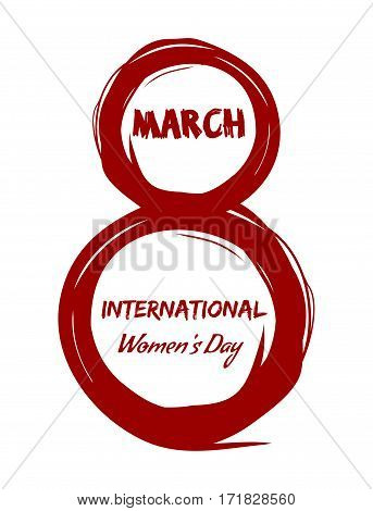 8 March. International Womens Day. Label illustration. Greeting inscription. Grunge design elements for Happy Women's Day. Happy womens day design. Red vector lettering isolated on a white background