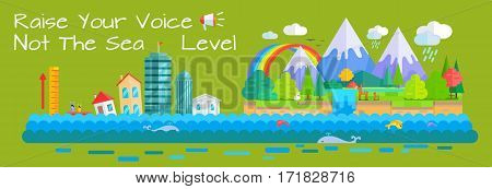 Global warming and sea level increase vector concept. Flat design. City with humans drowning by sea level rise. Beautiful nature cartoon landscape with rainbow, mountains, clods, waterfall, animals.